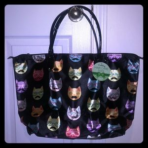 NWT Large zipper tote with cat faces